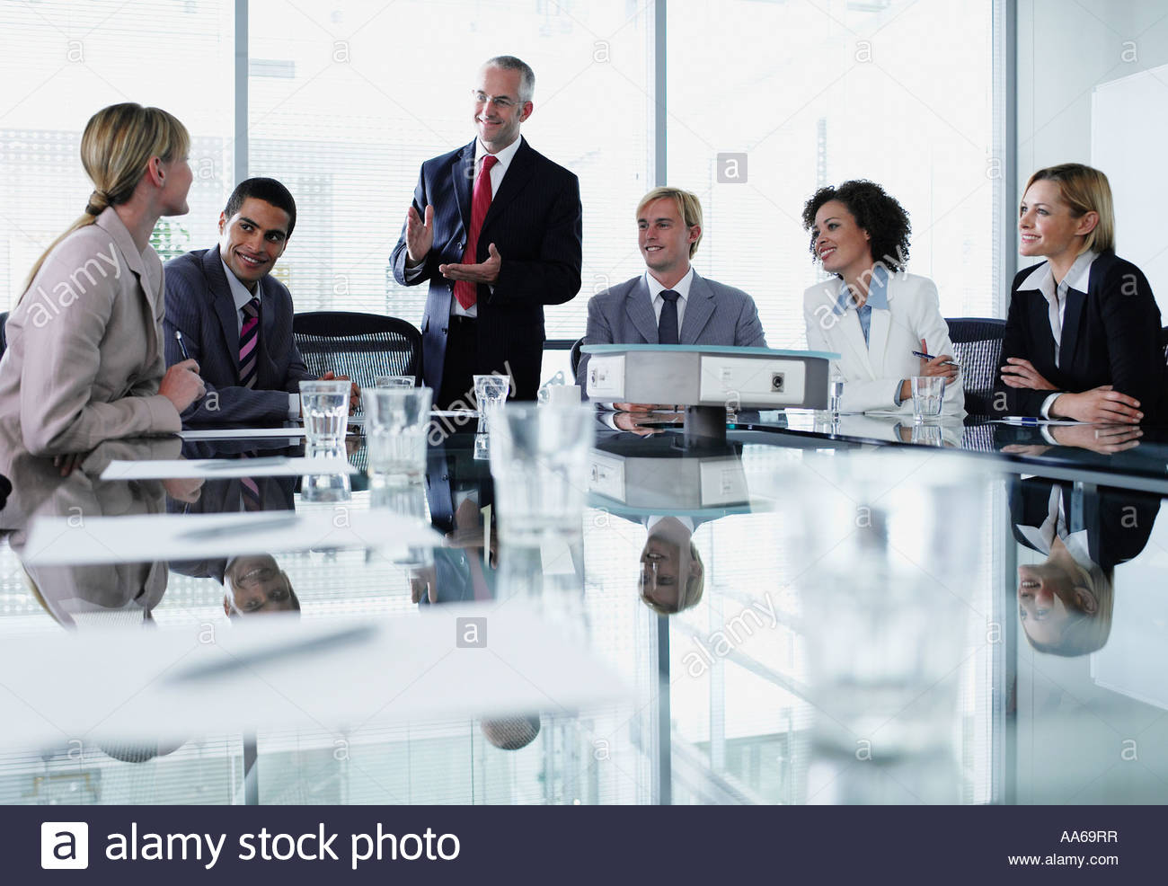Group of office workers in a boardroom meeting Stock Photo ...