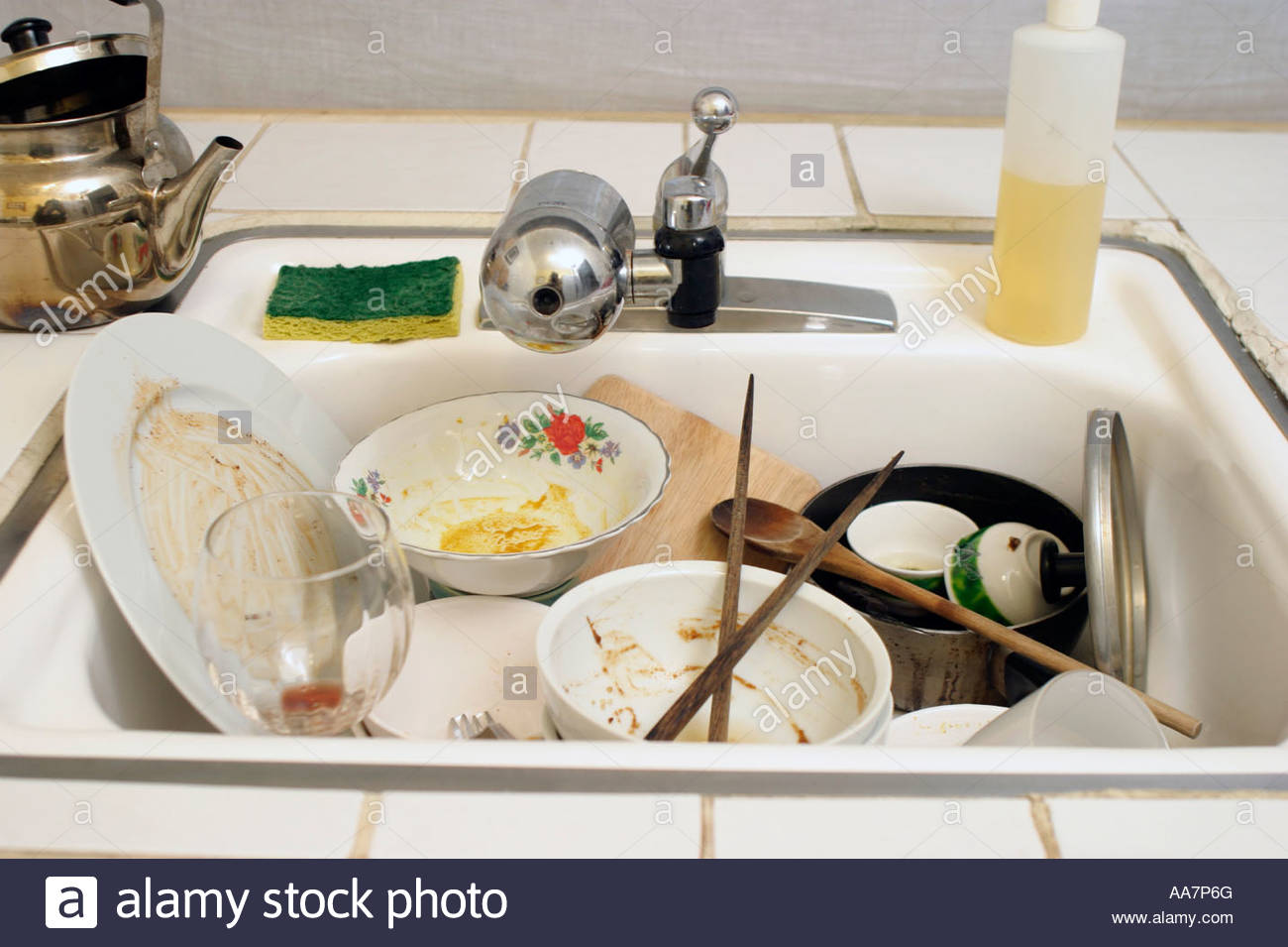 Kitchen Sink With Dishes kitchen sink full of dirty dishes stock photo, royalty free image