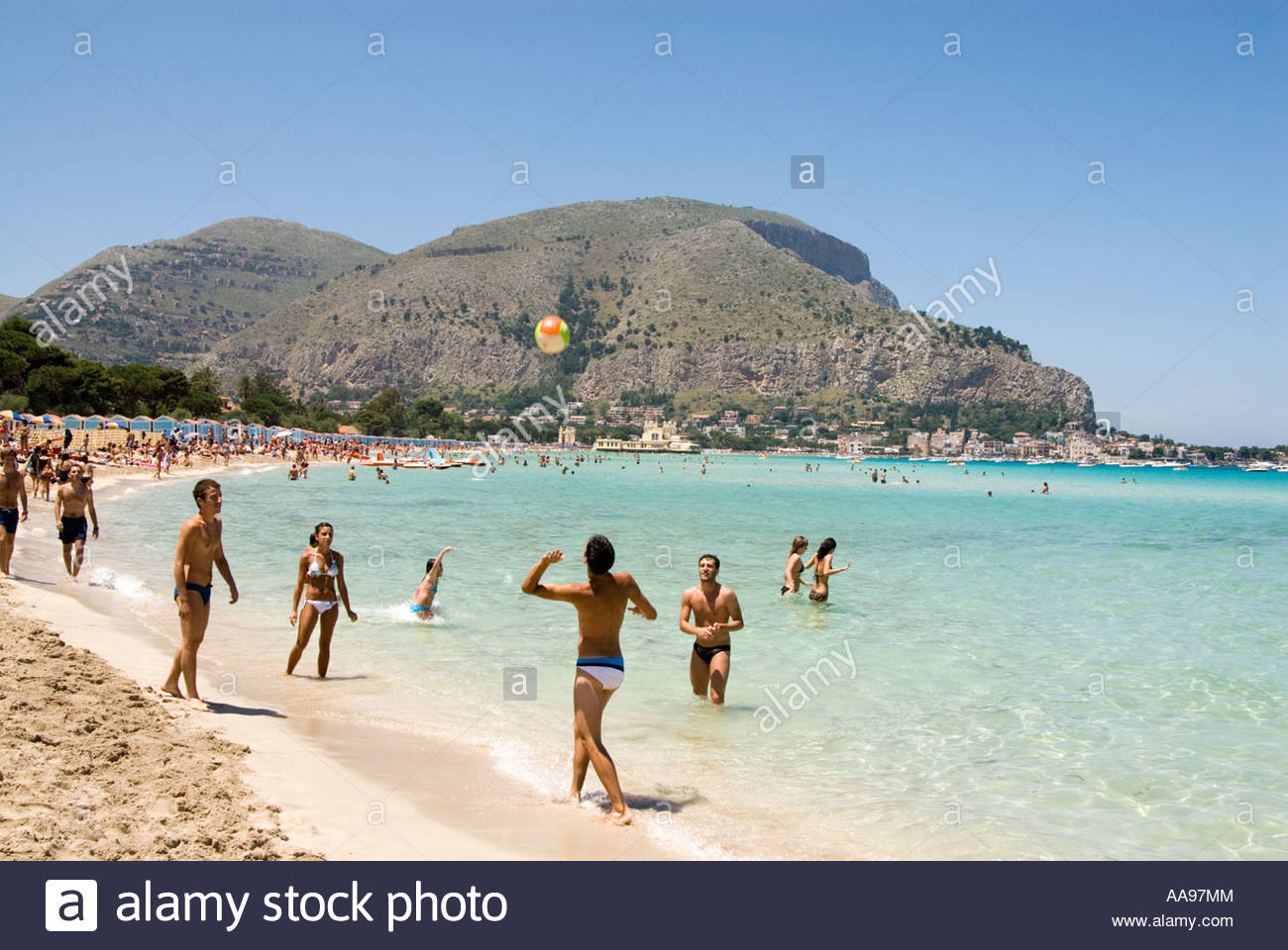 Young People Playing A Ball Game On The Beach At Resort Of Mondello Palermo Sicily Italy