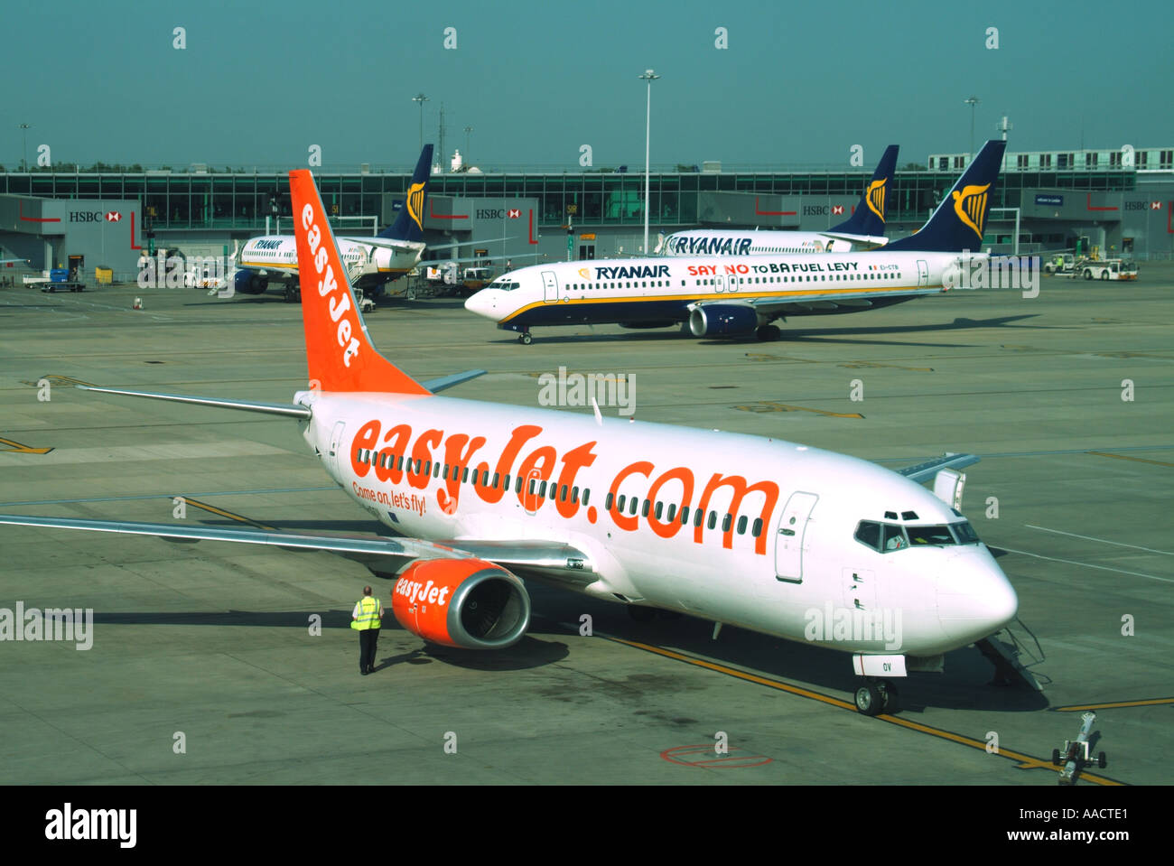 London Stansted Airport EasyJet aircraft and 2 two Ryanair planes on Stock Photo, Royalty Free ...