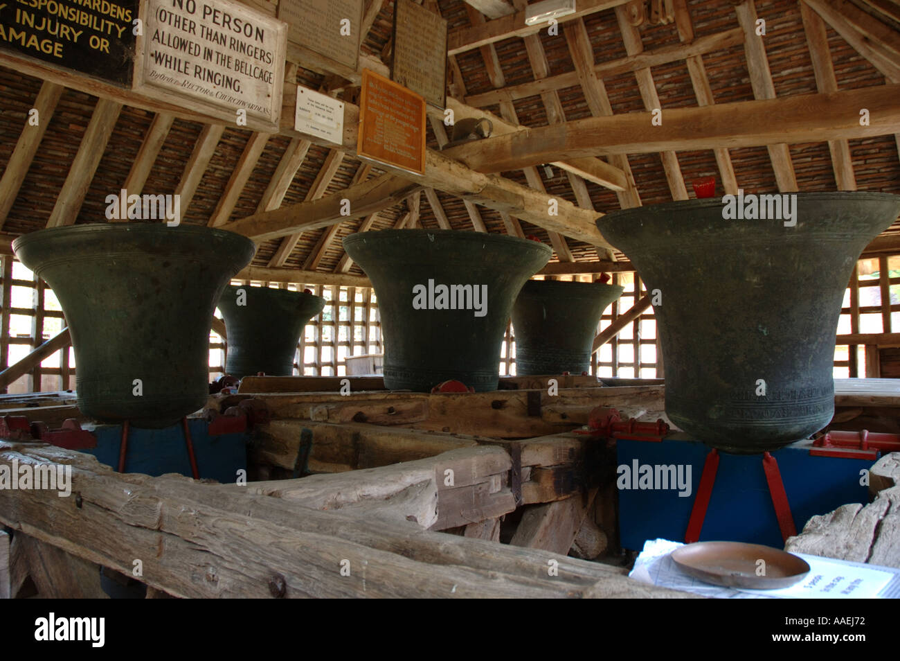 Bells In Medieval Bell Cage East Bergholt Suffolk Uk