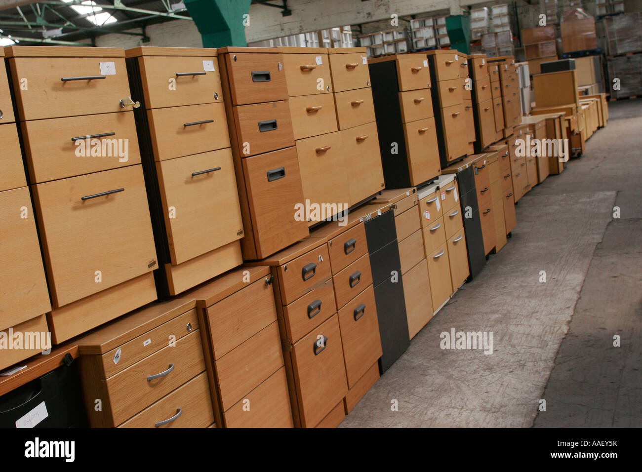 Used Office furniture in warehouse for recycling Stock Photo ...