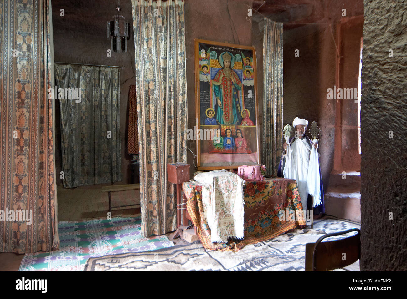 Curtains Ideas curtain paintings : Priest With Cross Curtain Drapes And Paintings In Bet Gabriel ...