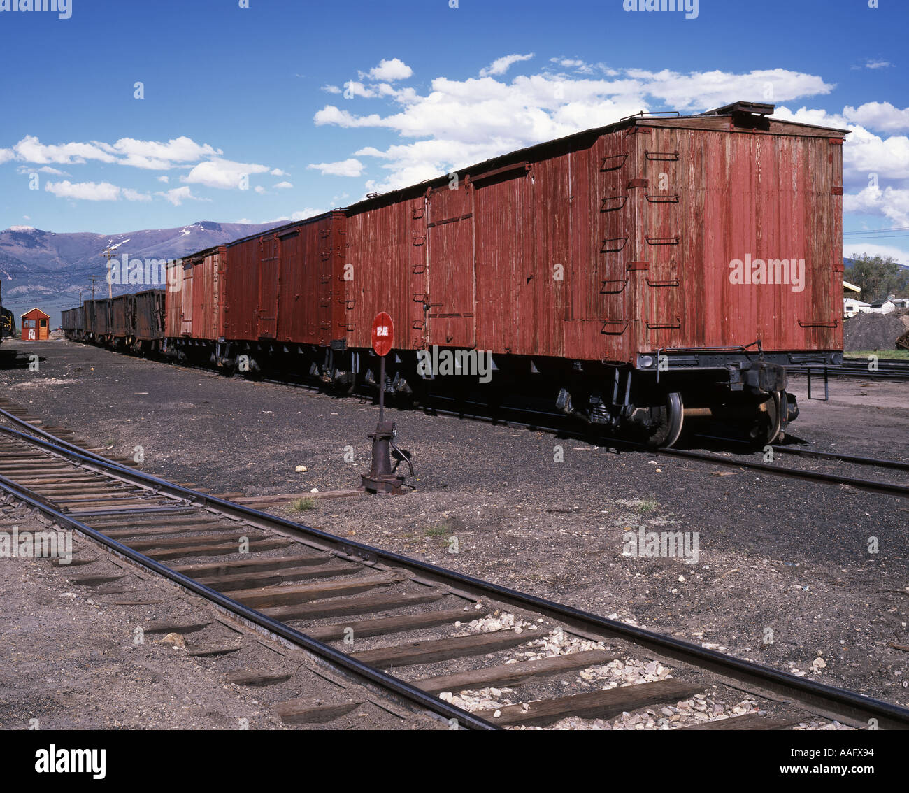 Wooden Rail Cars ~ Old wooden box cars in the historic railroad yard ely