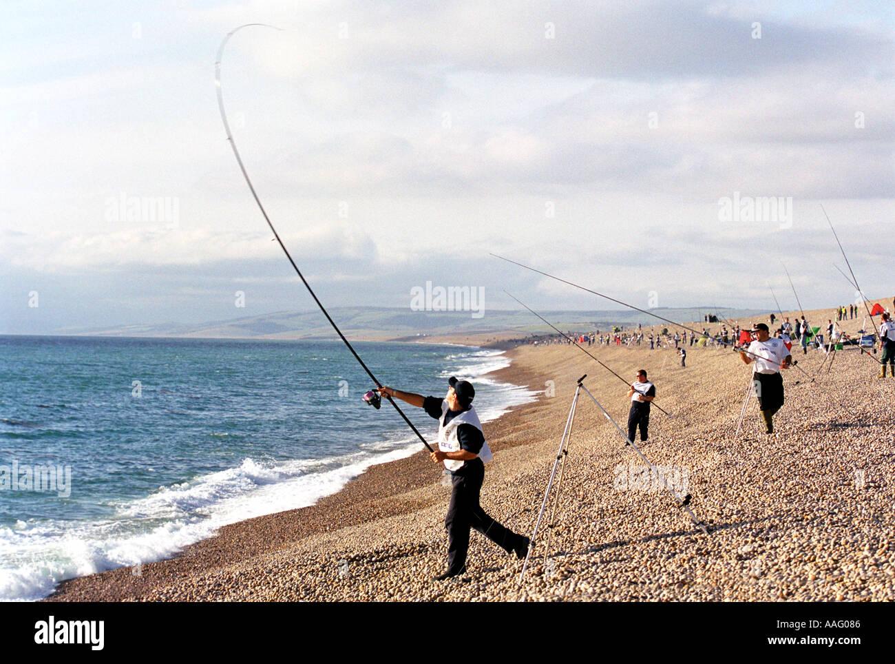 Beach Fishing At Chesil Beach In Dorset Britain Uk