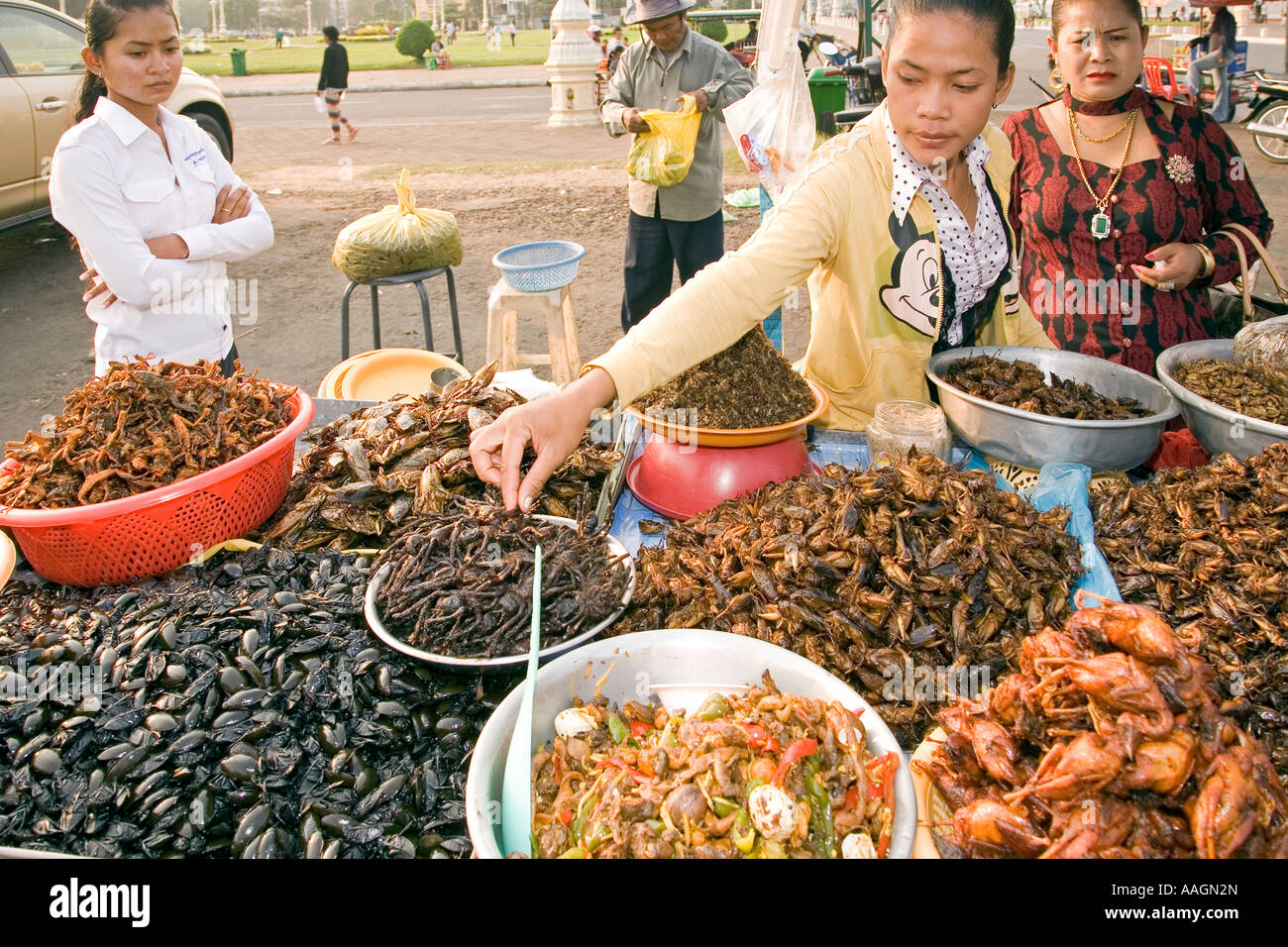 Food stall selling insects phnom penh cambodia stock for A taste of cambodian cuisine