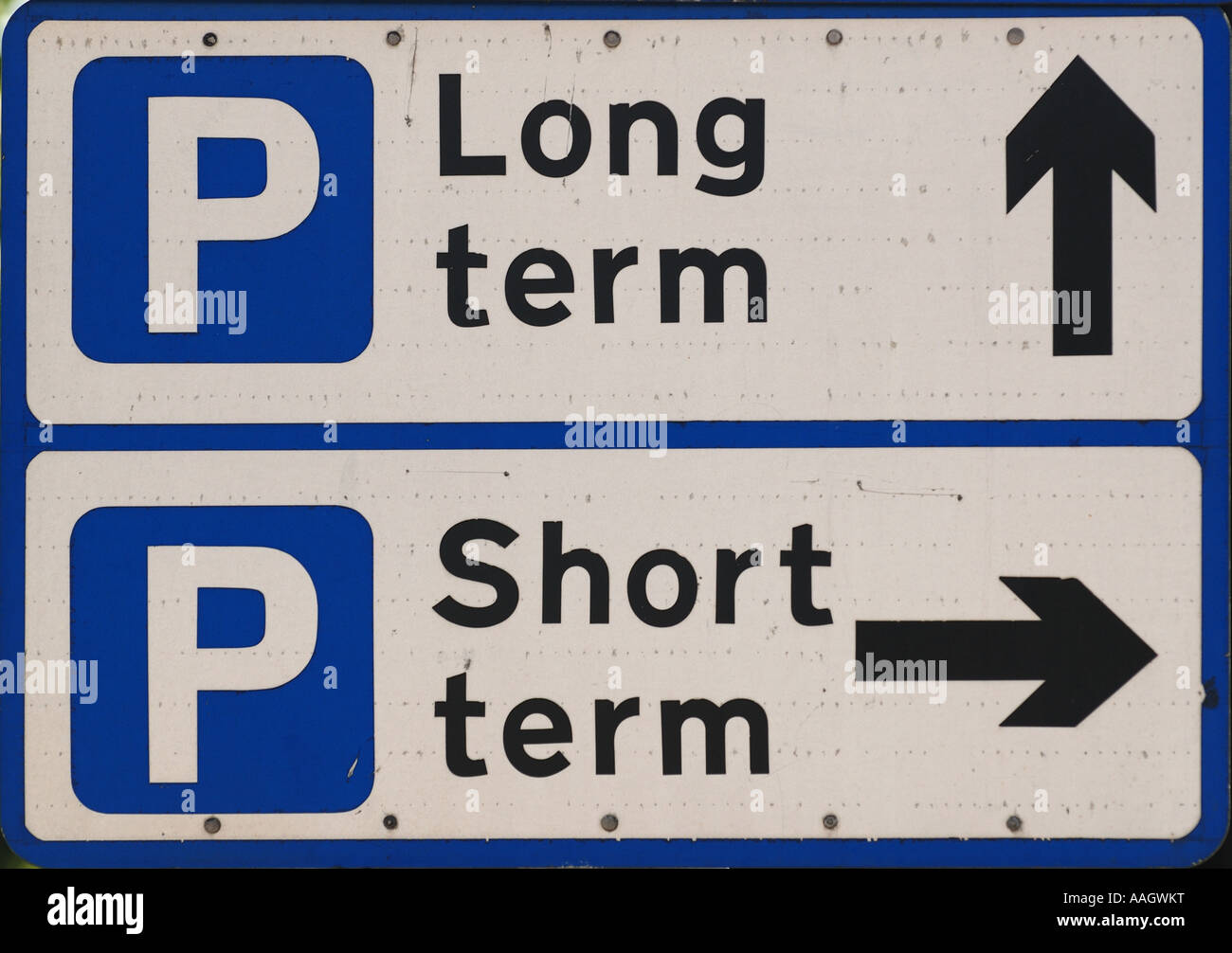 Long And Short Term : Parking long term and short road sign traffic