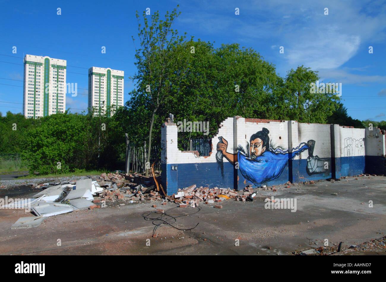 Graffiti wall art uk - Stock Photo Stockport Graffiti Wall Art Genii Genie North West Uk Europe