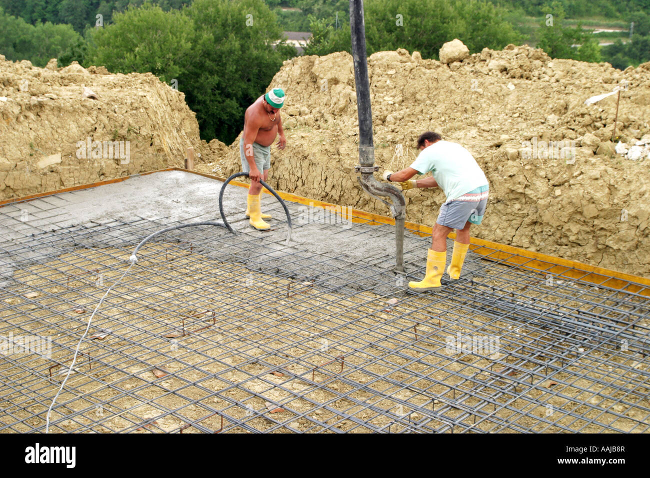 Laying A Reinforced Steel Cage Foundation For A Swimming Pool Le Stock Photo Royalty Free