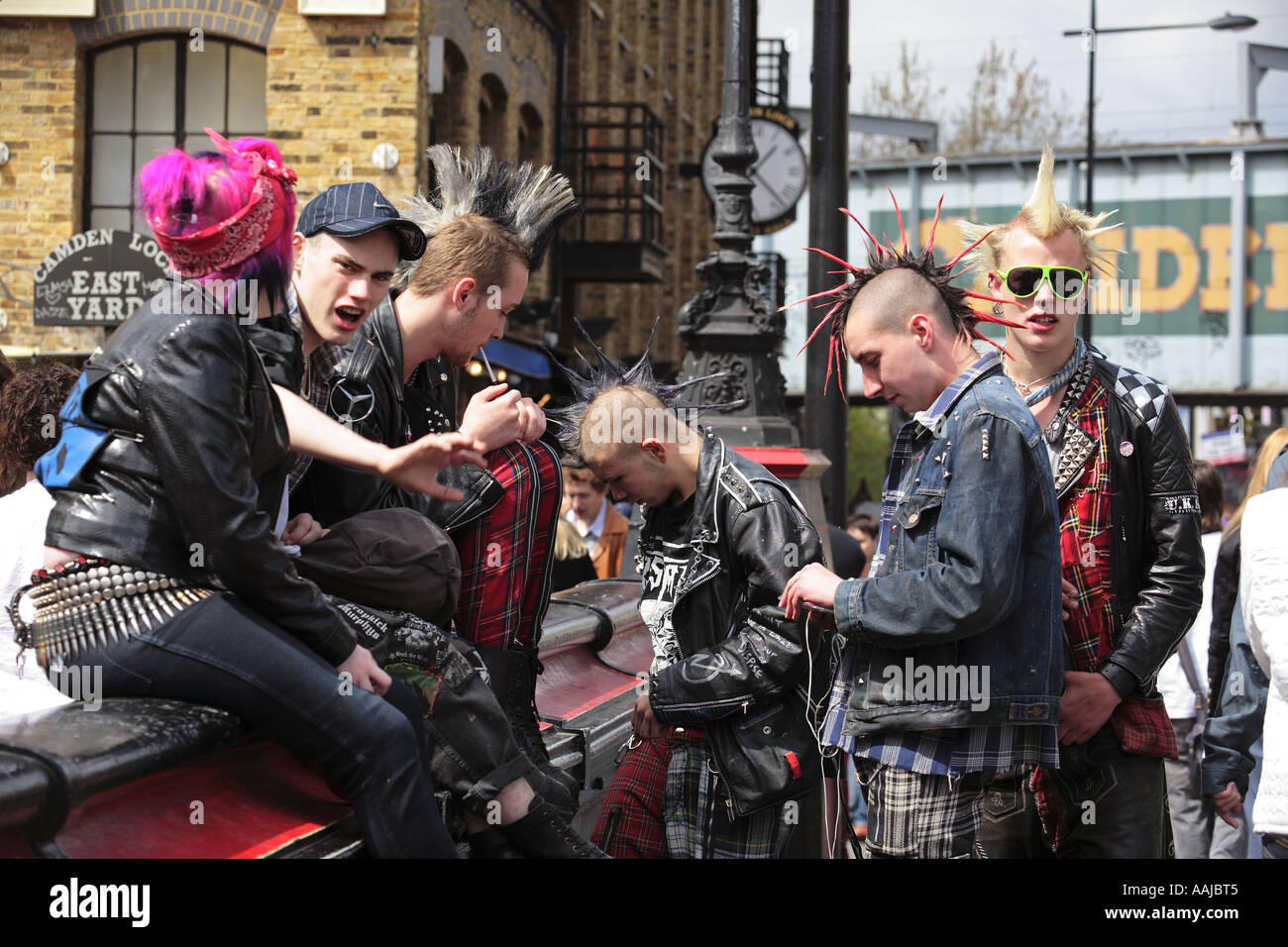 Camden United Kingdom  city photos gallery : United Kingdom London Camden High Street A Group Of Punks On The Stock ...