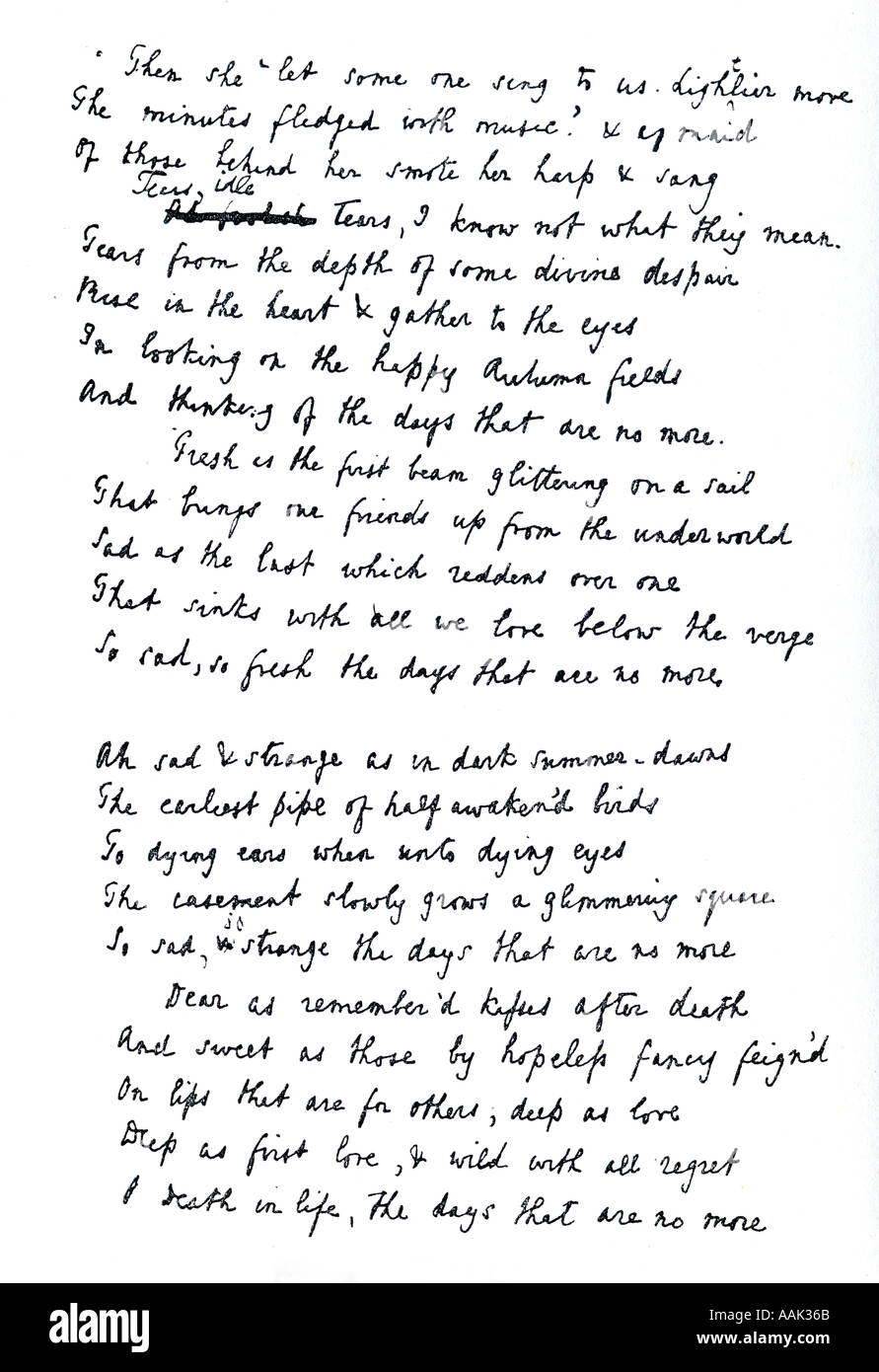 Tears Idle Tears From The Original Ms By Alfred Lord Tennyson ...
