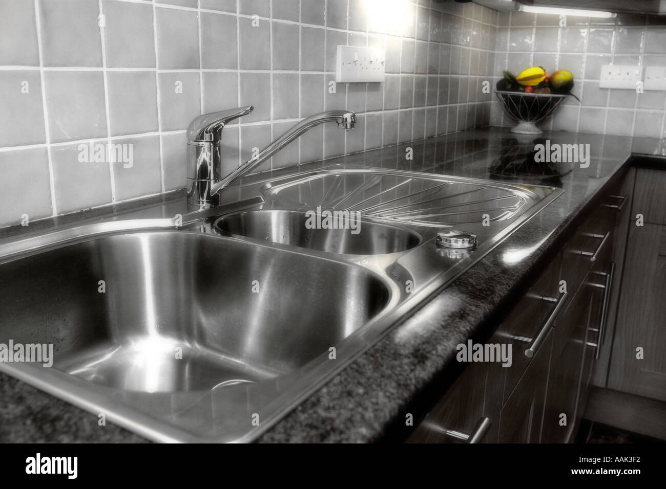 modern kitchen sink draining board diffused version Stock Photo ...