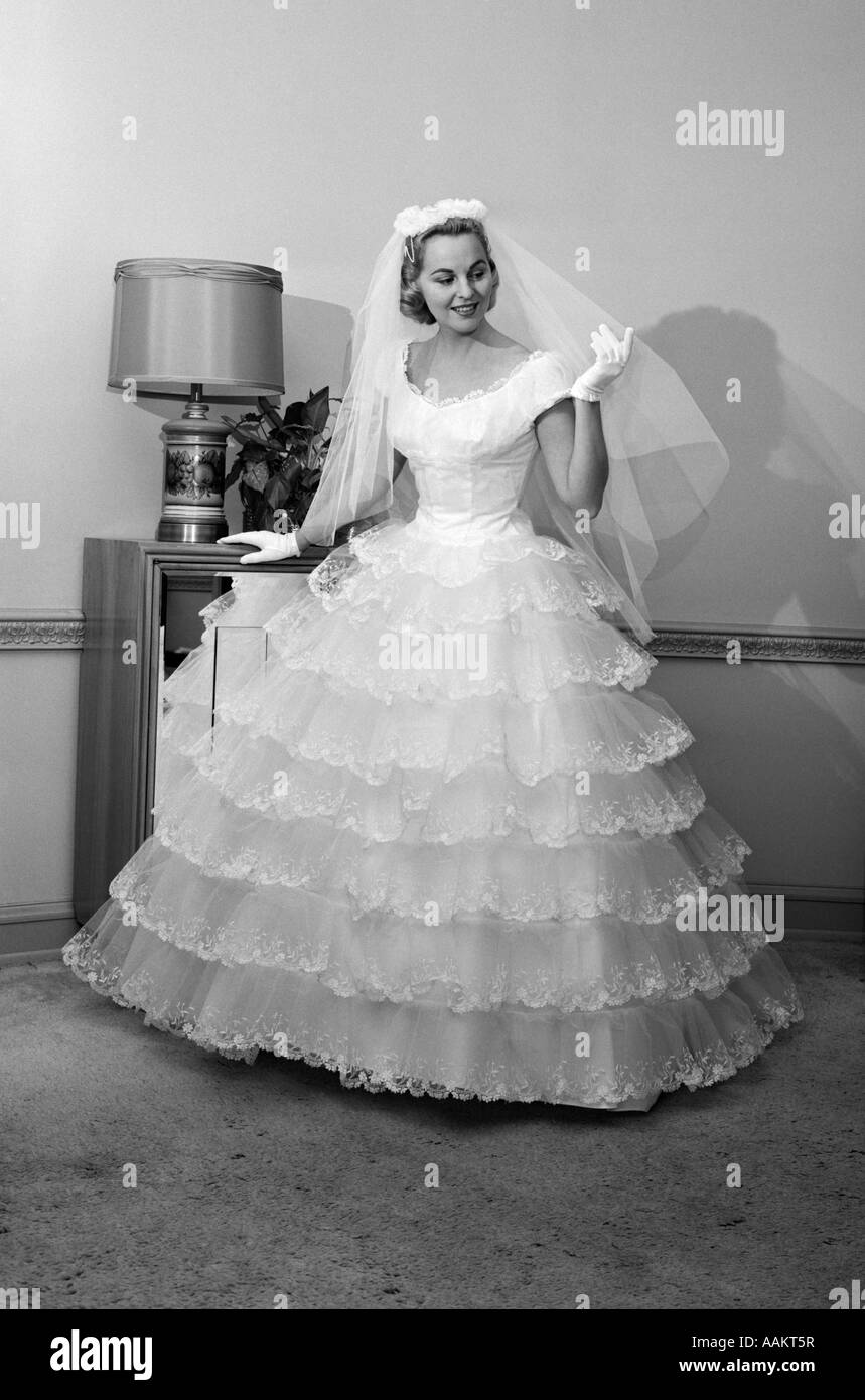 Black gloves for gown - 1950s 1960s Bride In Full Gown Veil White Gloves Standing In Room With Open Door