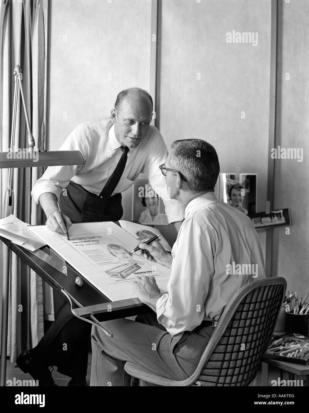 1950s 1960s Two Advertising Agency Men At Artist Drafting
