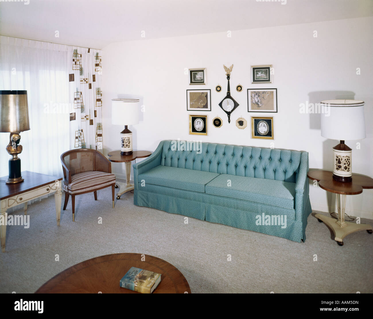 1950s 1960s interior living room decor couch sofa chair decorations stock photo royalty free. Black Bedroom Furniture Sets. Home Design Ideas