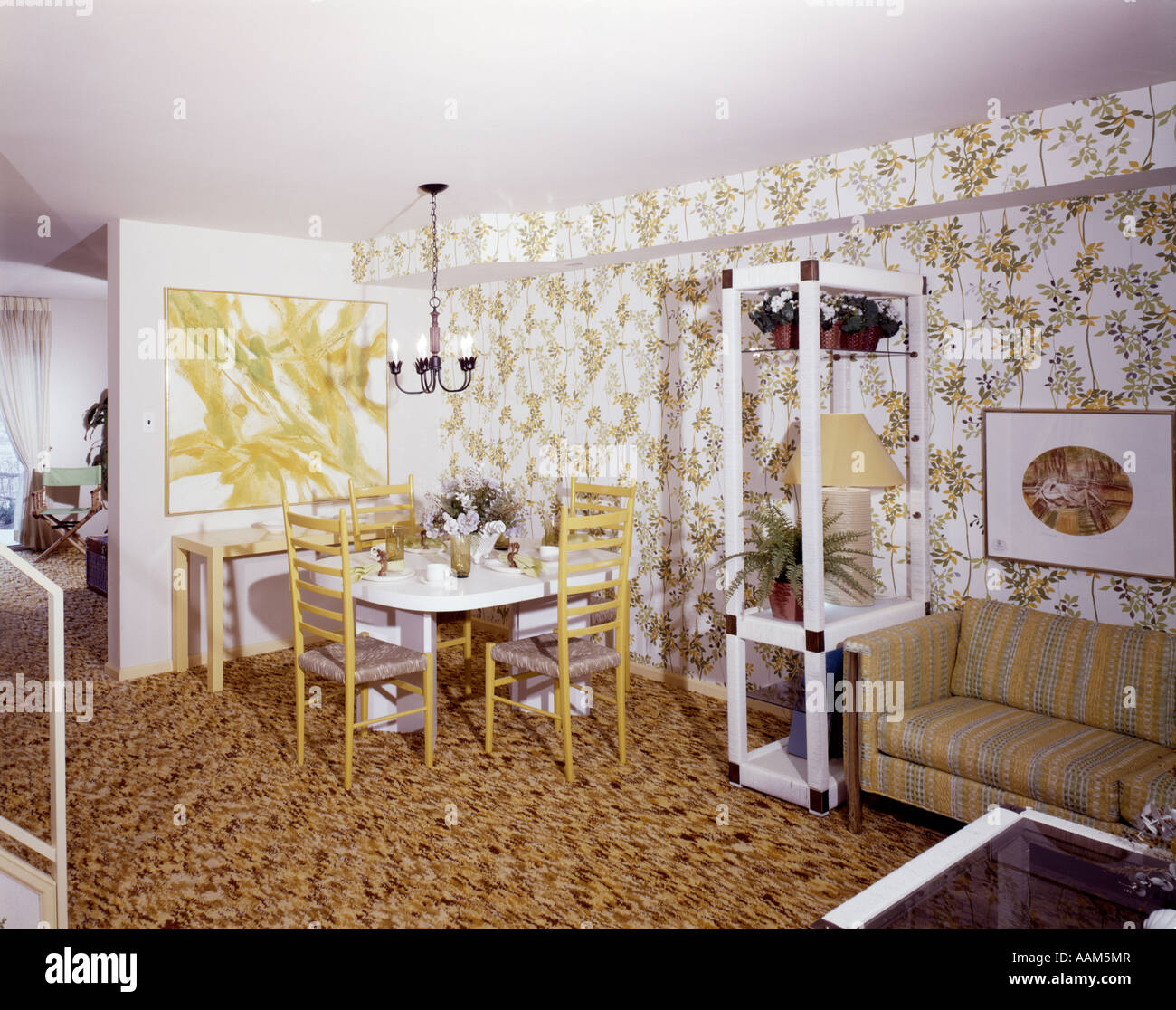 1970 1970s LIVING DINING ROOM DINETTE TABLE YELLOW CHAIRS PRINT WALLPAPER STRIPE COUCH CARPET HOME DECOR RETRO