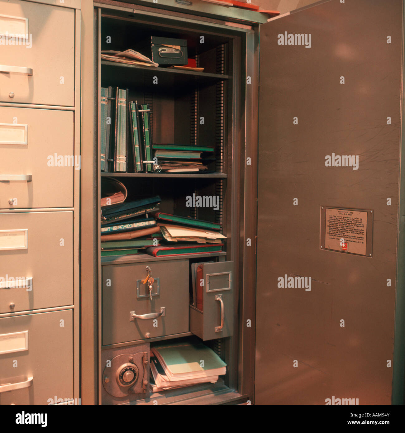 View Of Inside Office Closet Books Papers Safe Stock Photo