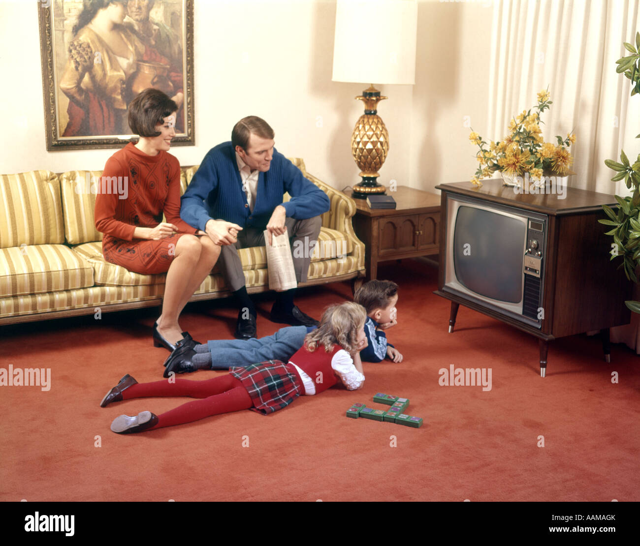 Family In Living Room: 1960s FAMILY IN LIVING ROOM WATCHING TV FATHER MOTHER