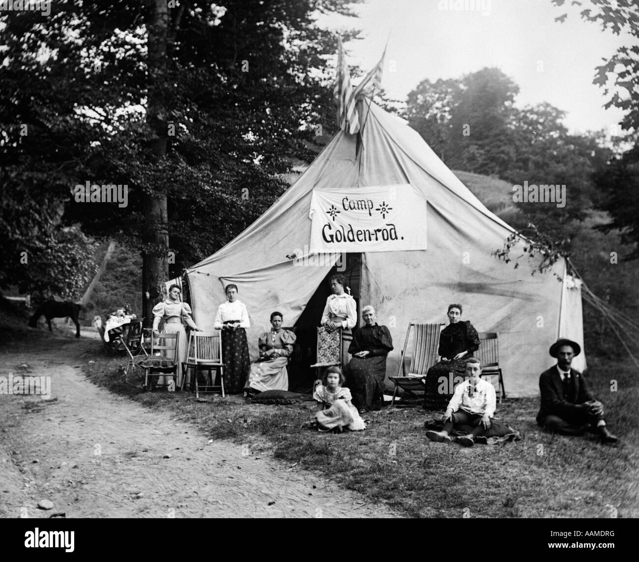1890s TURN OF THE CENTURY GROUP SEATED IN FRONT OF LARGE TENT WITH SIGN READING CAMP GOLDEN-ROD & 1890s TURN OF THE CENTURY GROUP SEATED IN FRONT OF LARGE TENT WITH ...