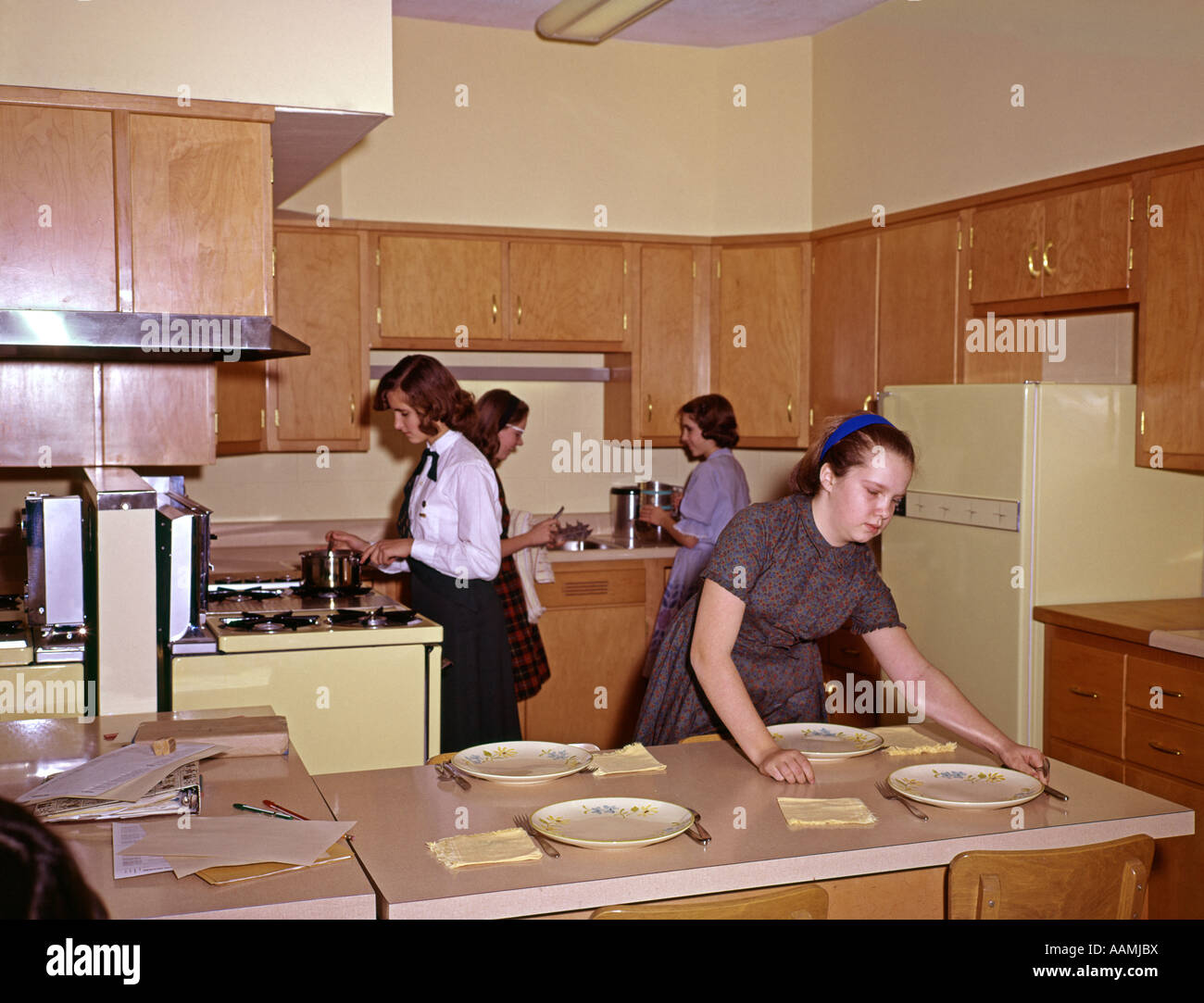 1960 1960s 4 girls in kitchen school home economics class for Kitchen setting pictures