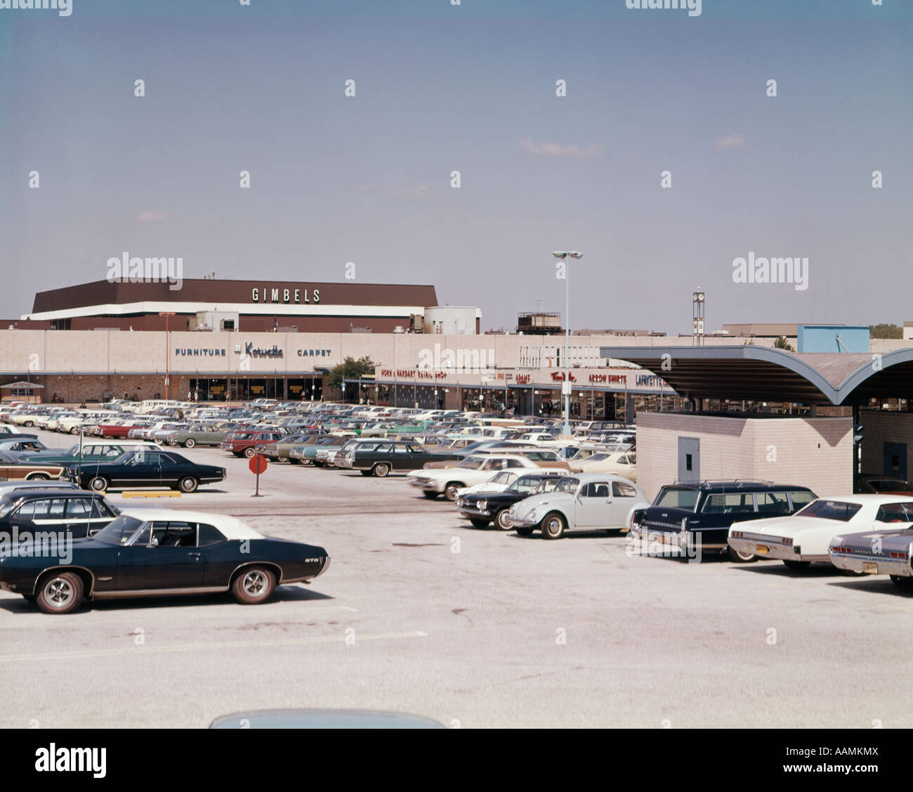 1970s Parking Lot Cars Suburban Shopping Center Department