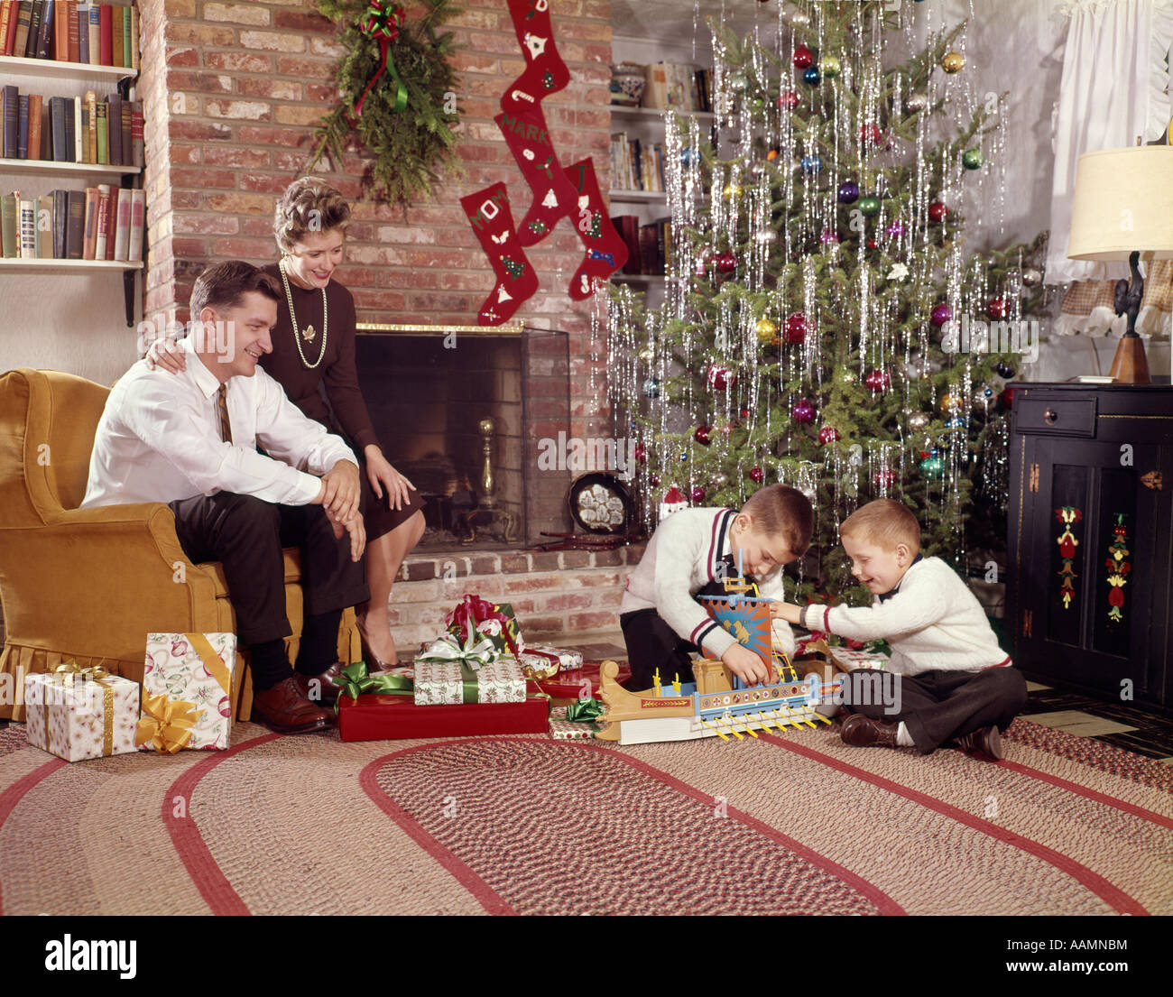 1960 Christmas Toys : S family in living room christmas tree boys playing