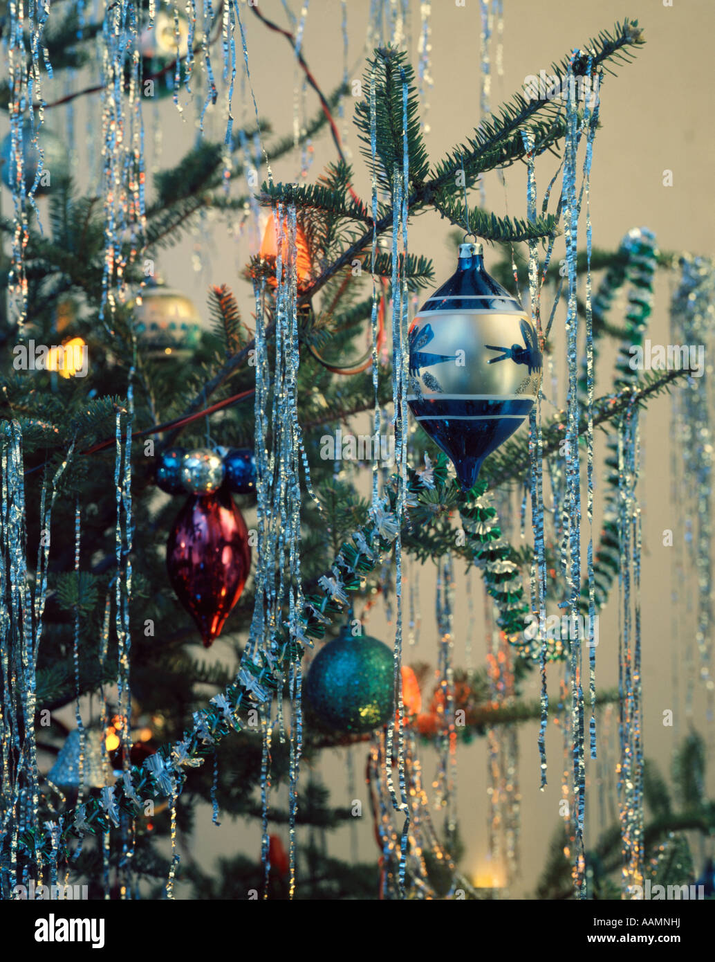 Vintage christmas tree ornaments - 1970 1970s Retro Christmas Tree Ornament Garland Lights Stock Image
