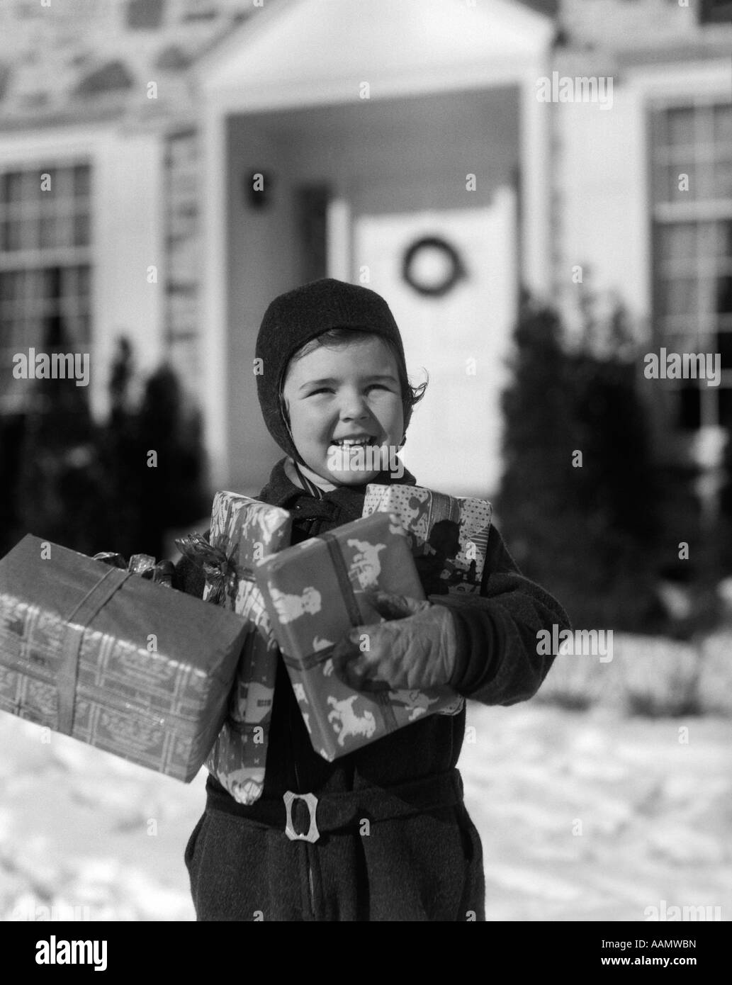 1930s LITTLE GIRL STANDING OUTSIDE HOUSE WRAPPED CHRISTMAS ...