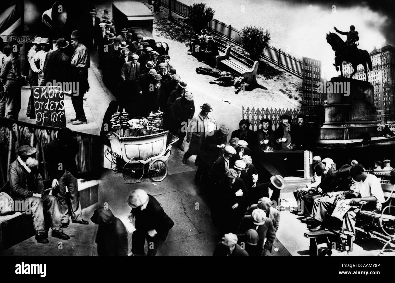 1930s photo montage of great depression includes bread line apple stock photo royalty free. Black Bedroom Furniture Sets. Home Design Ideas
