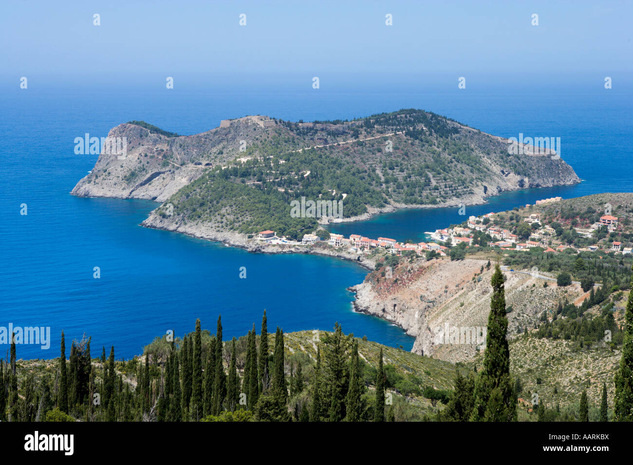 View of Assos Town and Assos Castle, Kefalonia, Ionian ...