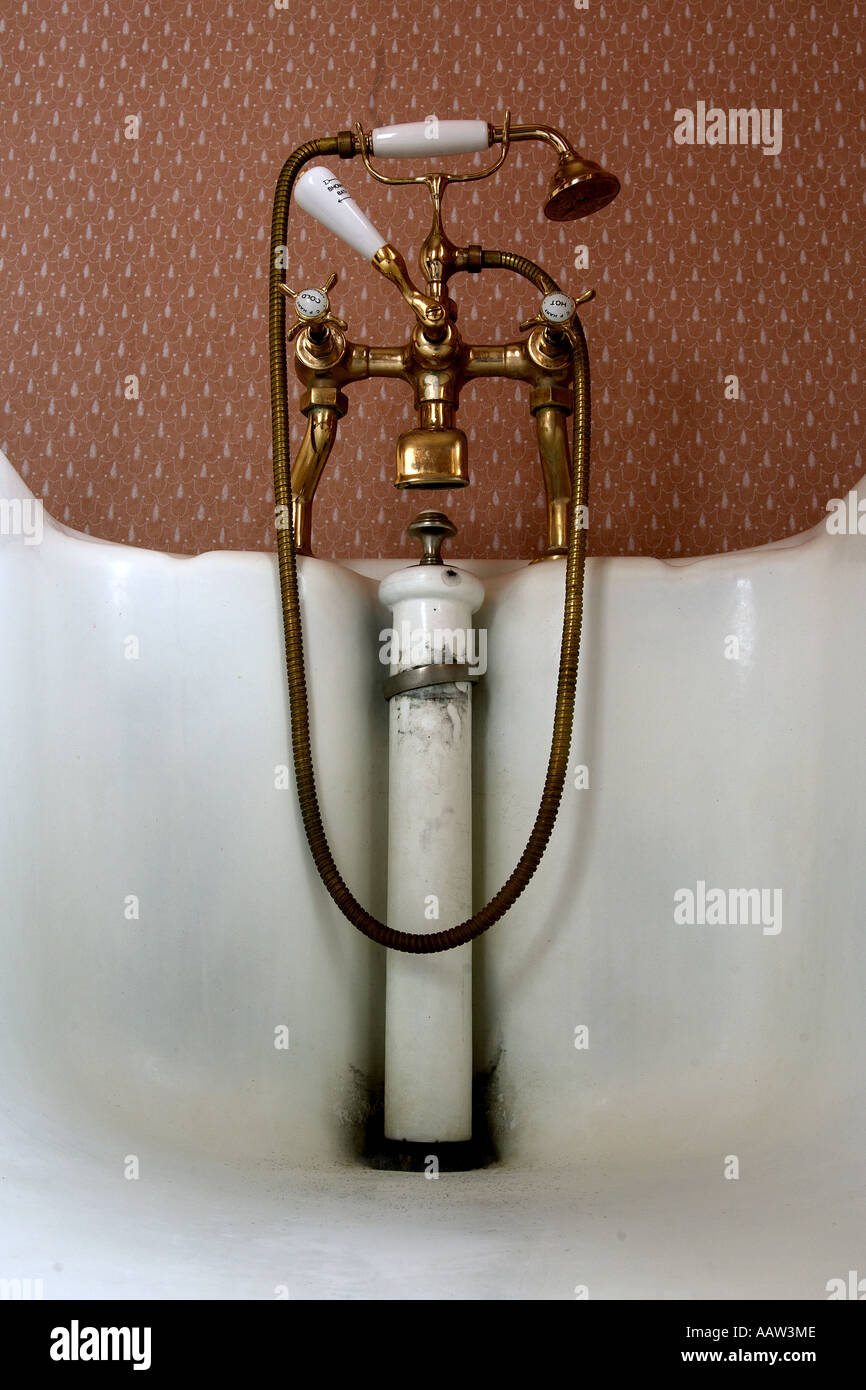 edwardian brass bath fixture with mixer taps shower attachment and edwardian brass bath fixture with mixer taps shower attachment and pull up waste plug in bathroom