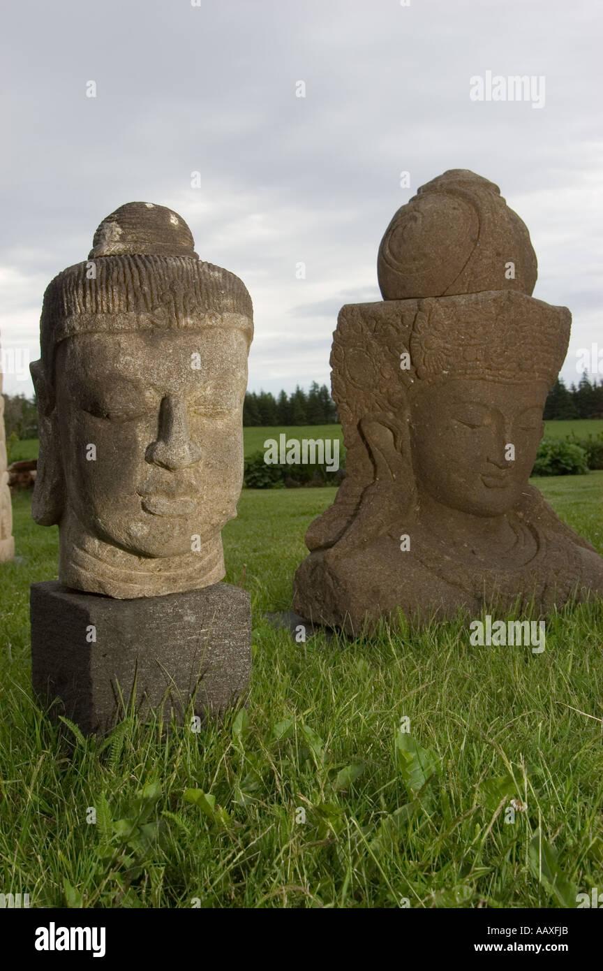 Stock Photo   Stone Garden Sculptures From Thailand At A Garden Shop On  Prince Edward Island, Canada