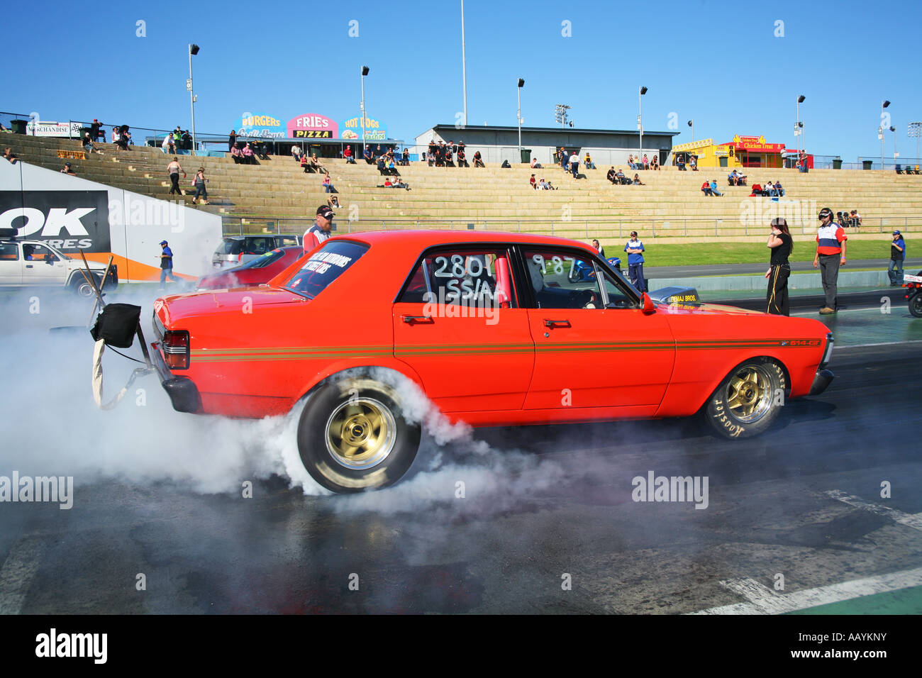 Australian Ford Drag Car Performs A Pre Race Burnout To