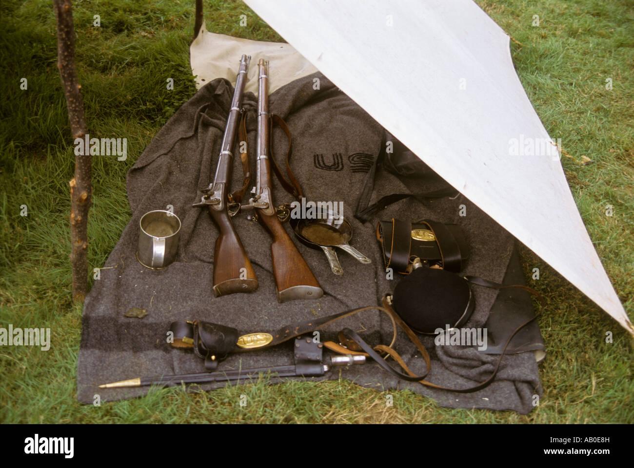 Civil war reenactors canvas tent equipment bed roll Lancaster PA Pennsylvania USA & Civil war reenactors canvas tent equipment bed roll Lancaster PA ...