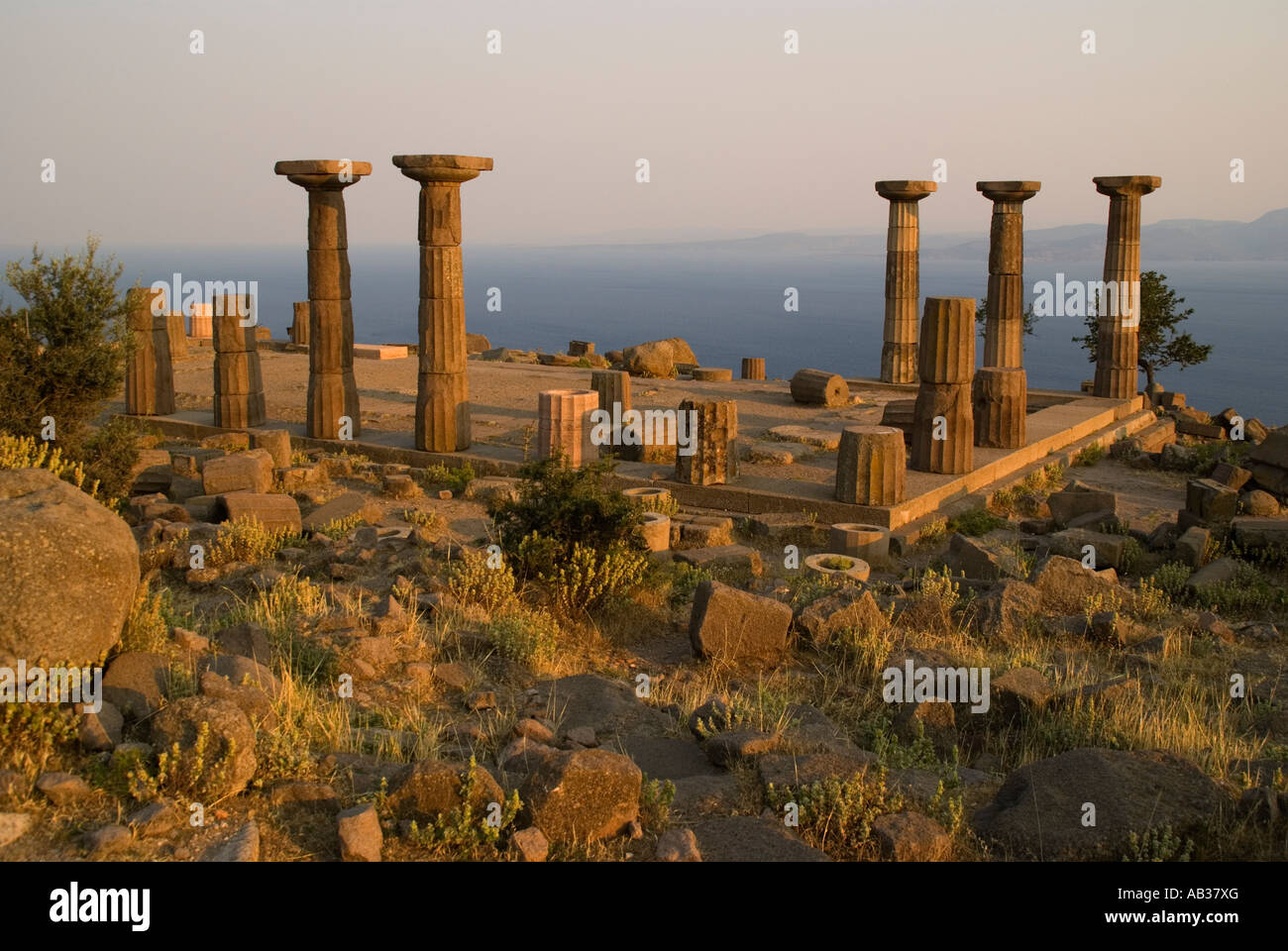 Ruins of the Greek Temple of Athena at Assos, Turkey ...