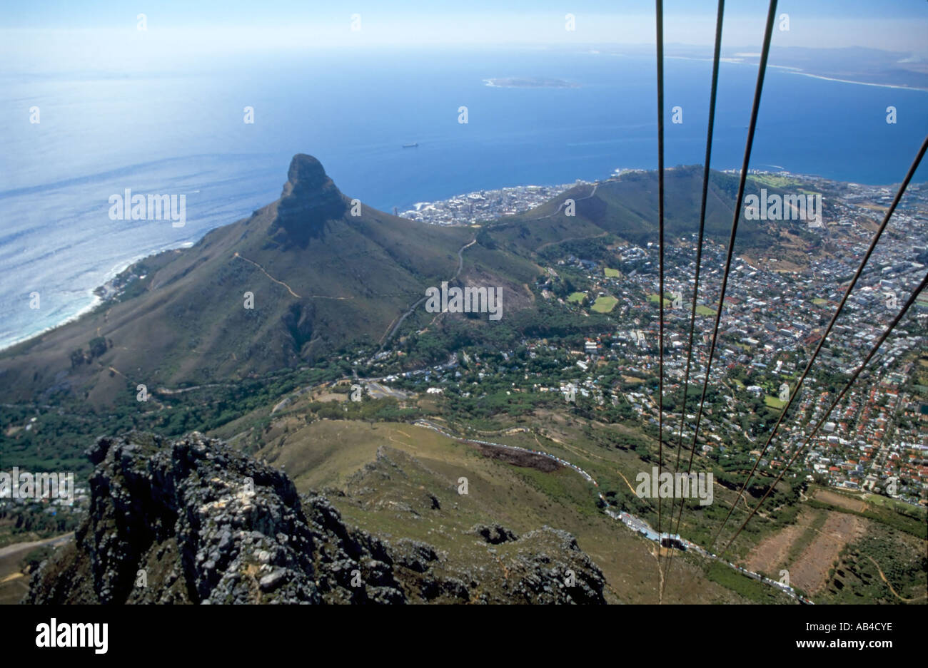 A View Of Cape Town And Signal Hill From The Rotair Cable Car As - Car signal hill
