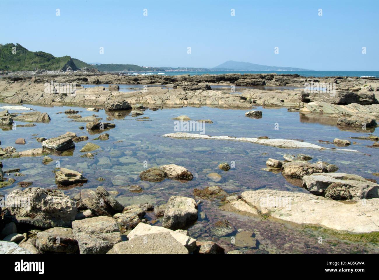 clear blue water on atlantic coast of near