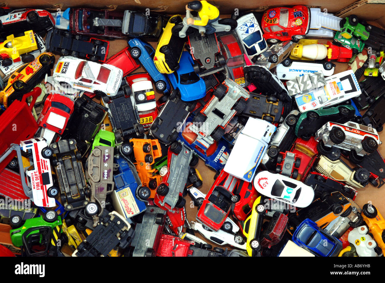 Used Yard Toys : A box full of small toy cars for sale at car boot