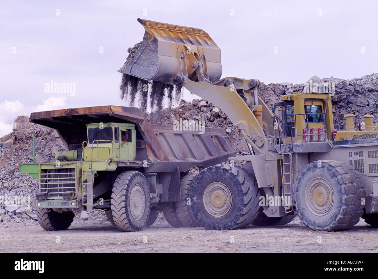 front end loader loading a 100 ton dump truck at a limestone