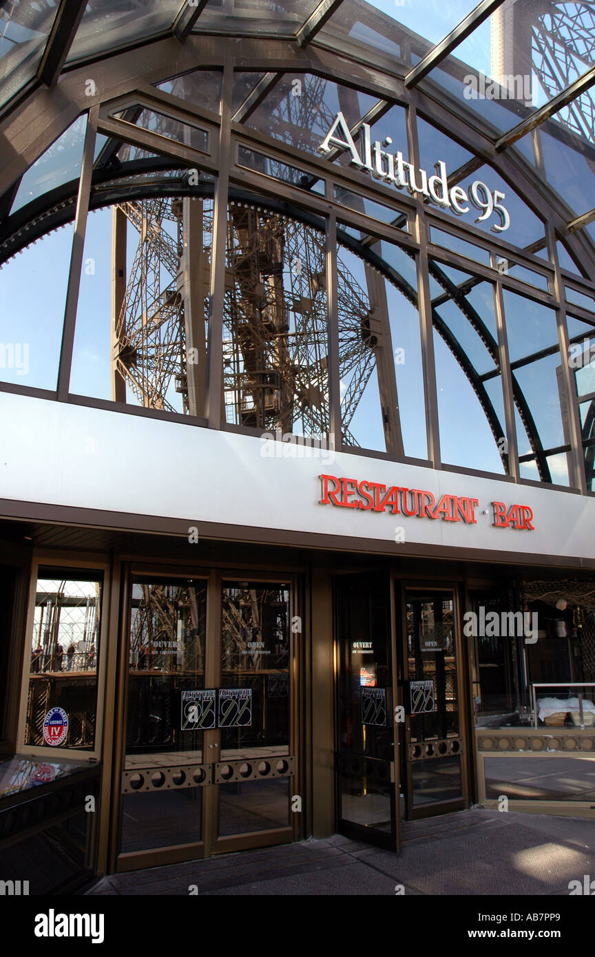 Eiffel tower restaurant altitude 95 paris france stock for Paris restaurant