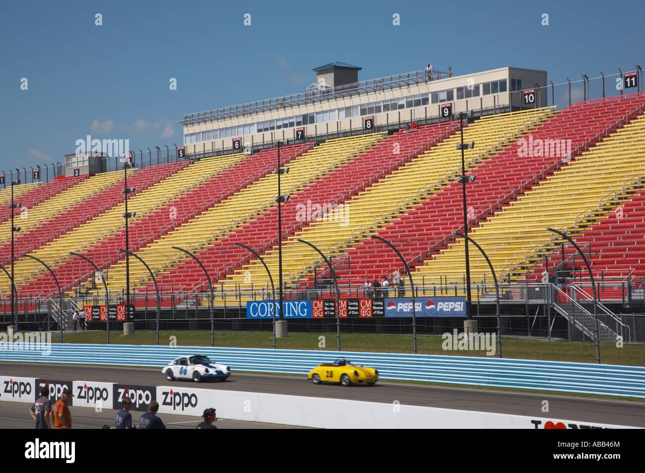 Empty grandstands at Watkins Glen International Raceway in Watkins