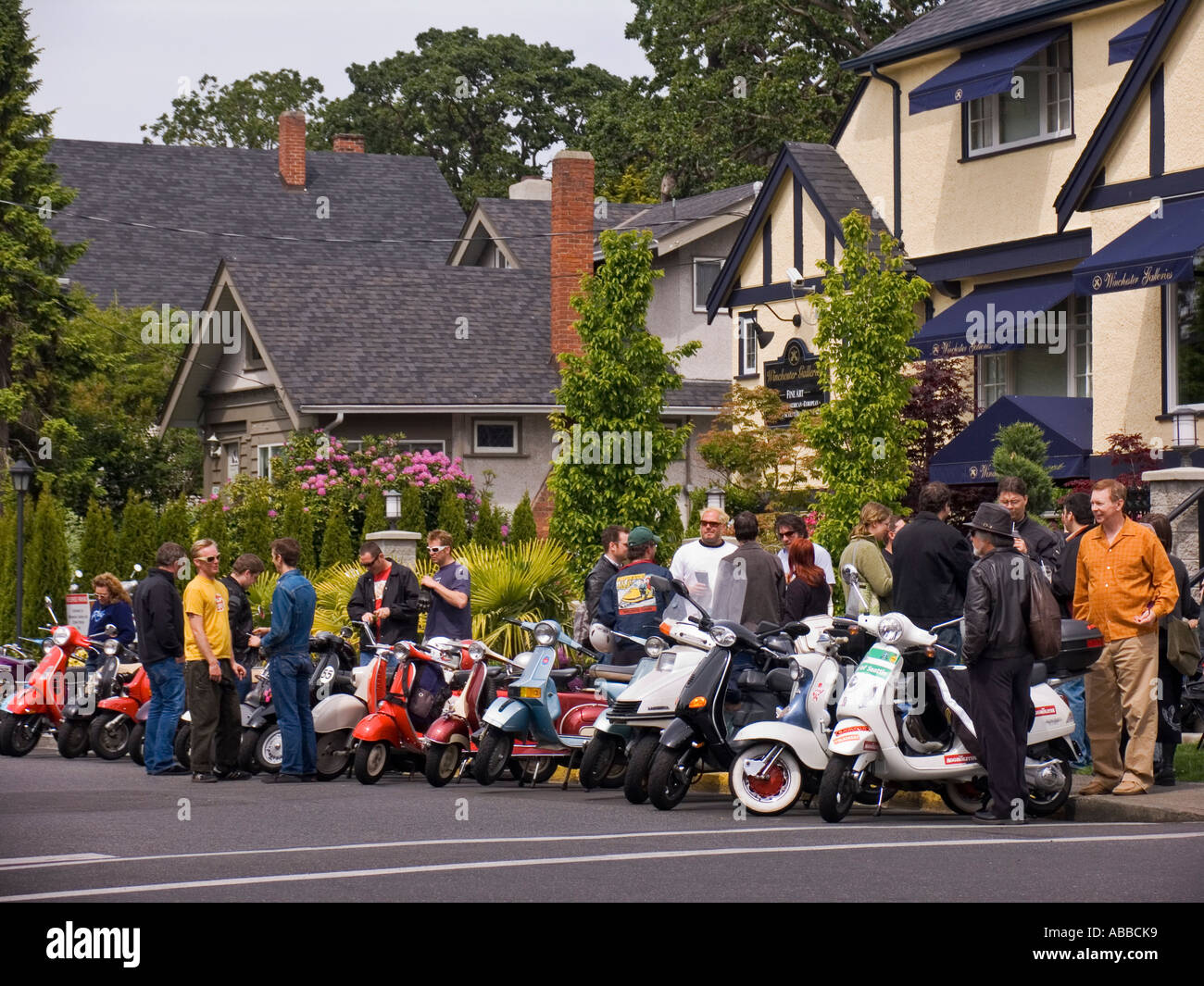 Motorcycle gloves victoria bc - Scooter Club Gathers On Residential Neighborhood Street Corner In Oak Bay Area Of Victoria Bc Canada