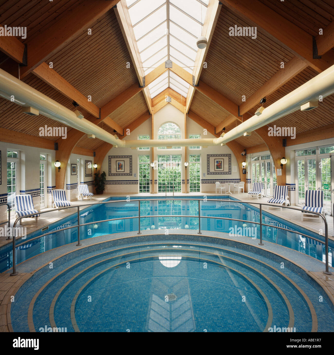 Circular Shallow Pool Above Large Hotel Indoor Swimming Pool With Stock Photo Royalty Free