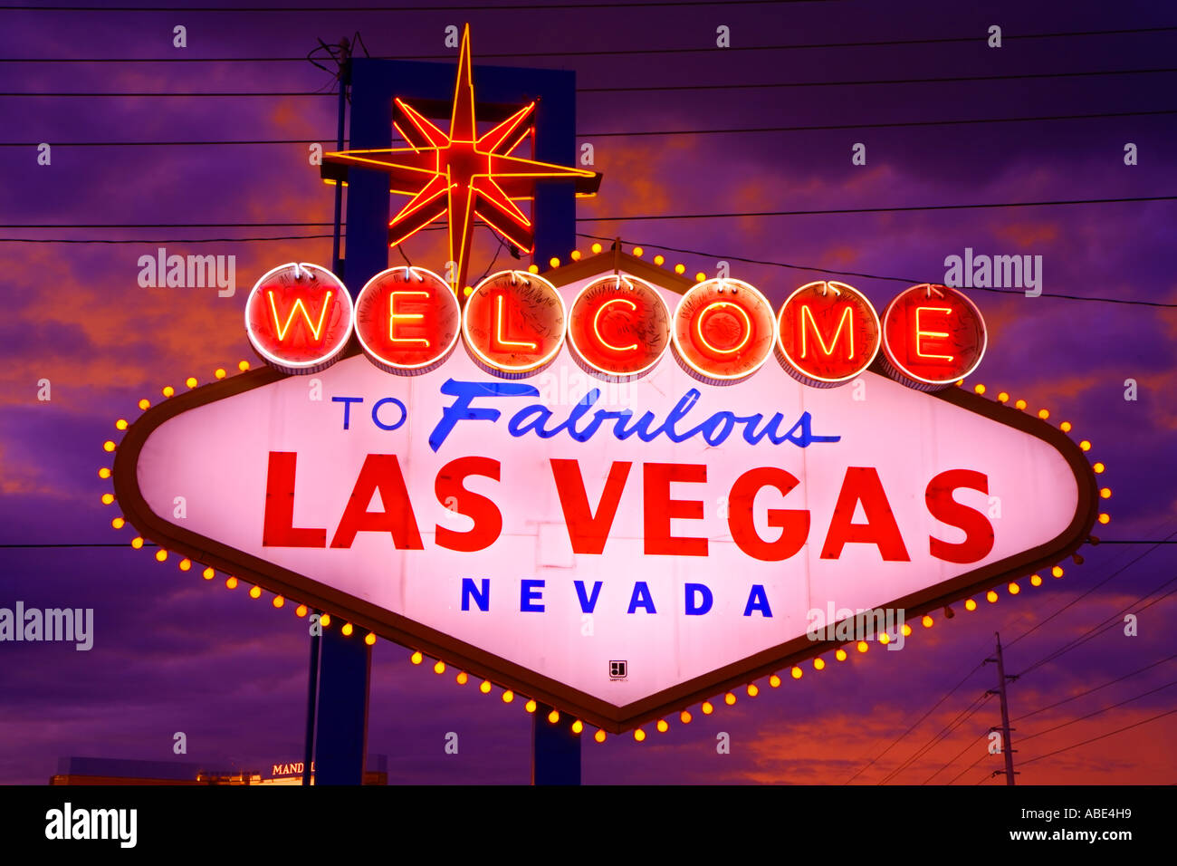 Stock footage welcome to fabulous las vegas sign with flashing lights - The Welcome To Las Vegas Sign At Night Las Vegas Nevada Stock Image