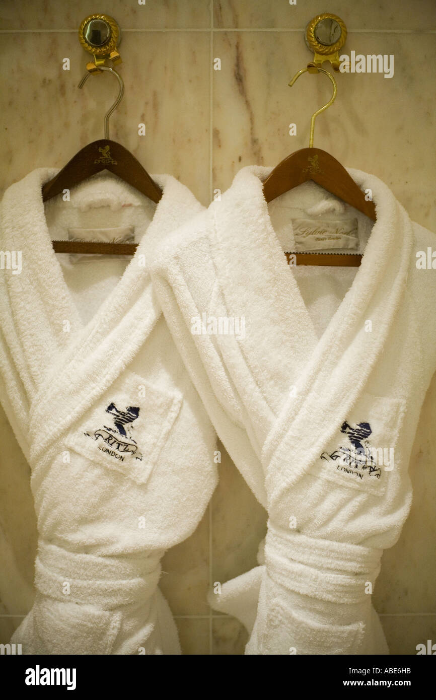 Monogrammed Bath Robes Hang In A Room At The Ritz Hotel In London - Bathroom robes