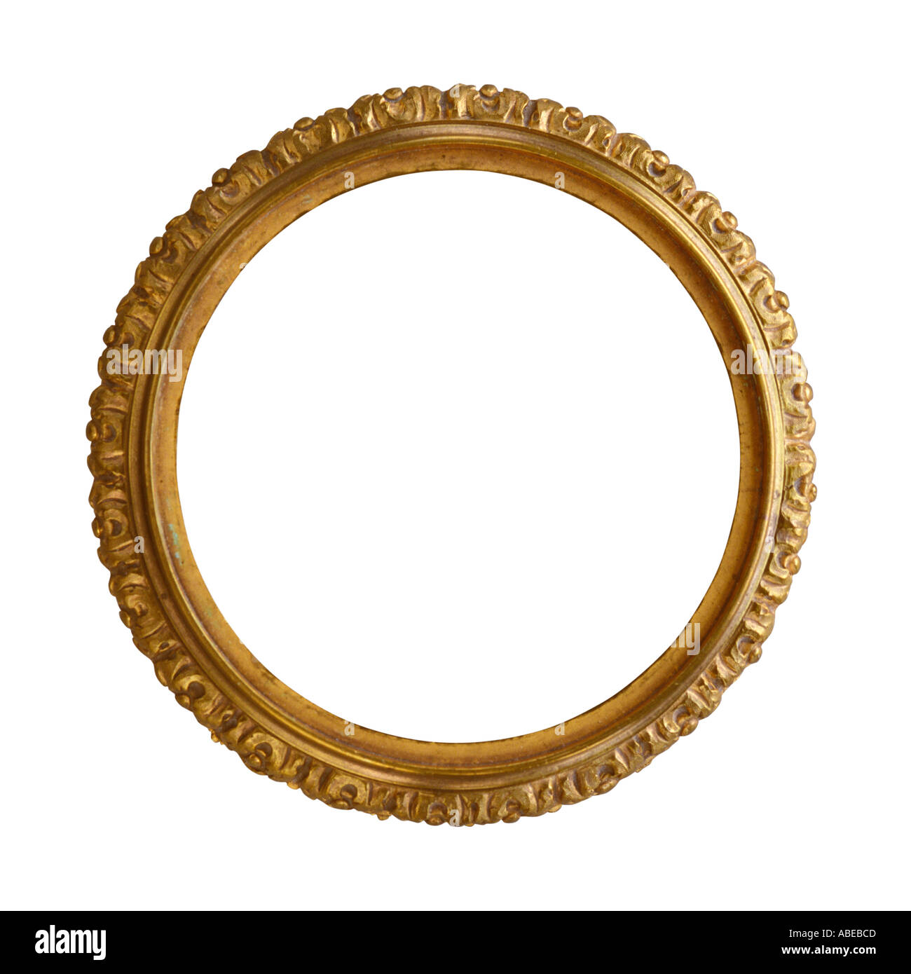 a round gold gilded antique decorative picture frame stock