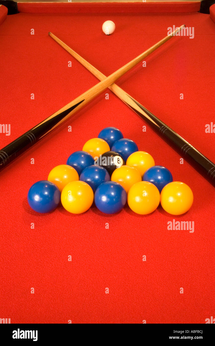 Stock Photo   A Pool Table In A Pub Set Up And Ready To Play