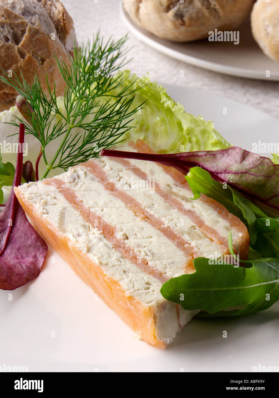 a serving of smoked salmon and pickled herring terrine with salad stock photo royalty free. Black Bedroom Furniture Sets. Home Design Ideas