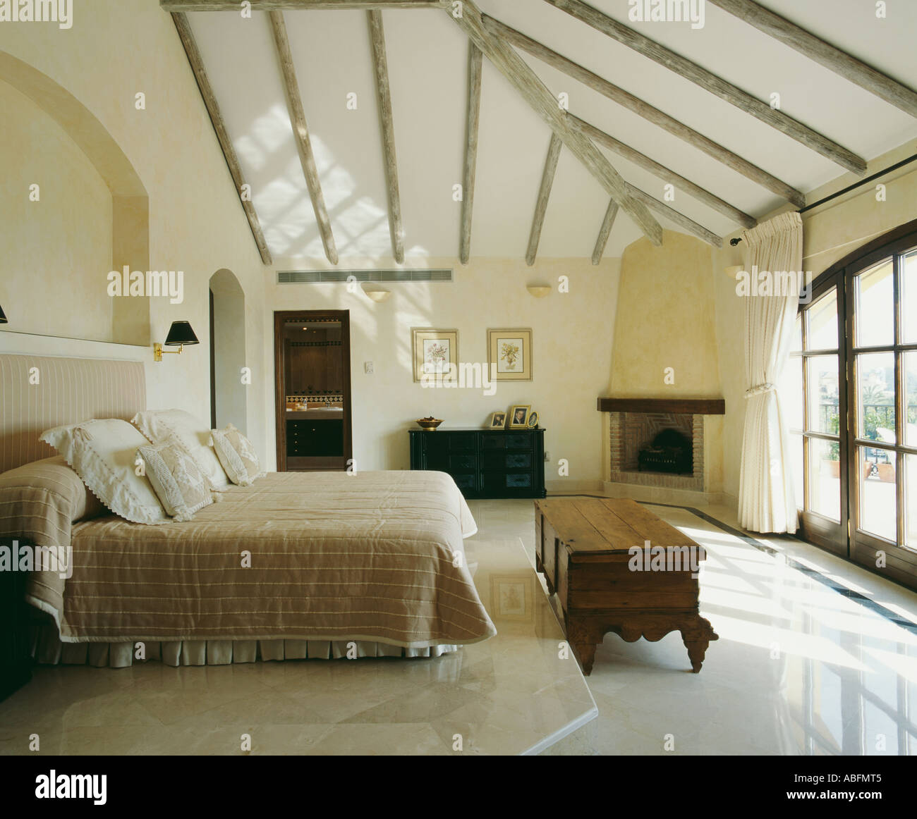 Attic conversion bedroom in loft space stock photo - How to convert a loft into a bedroom ...
