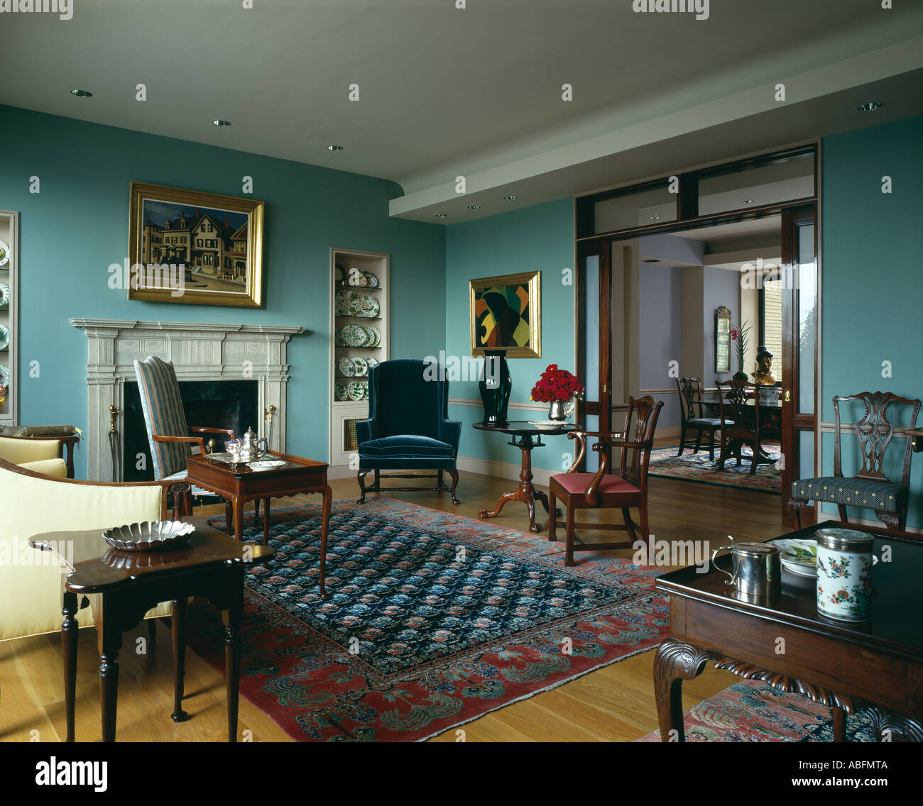 Steinberg Apartment, New York. Living Room With Chippendale Furniture And  Khorasan Carpets. Architect: Gwathmey Siegel